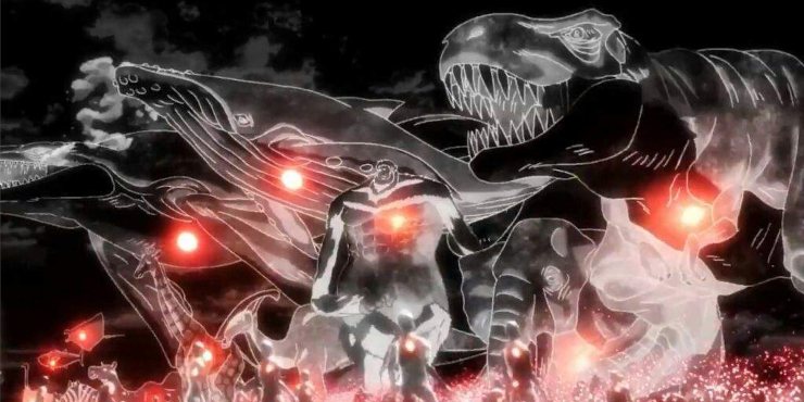 The Beast Titan running beside various animals including dinosaurs in the opening of Attack on Titan Season 2