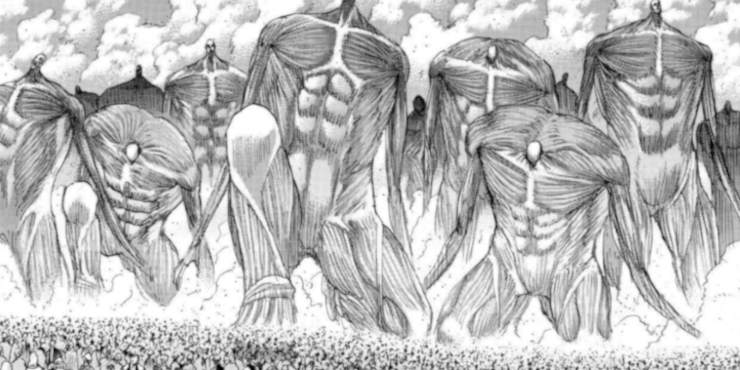 Wall titans from Attack on Titan deflating and turning to steam
